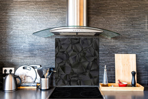 Toughened glass backsplash BS 12 White and grey textures Series: Wave Geometry 2
