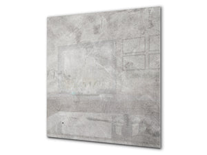Toughened glass backsplash BS 12 White and grey textures Series: Concrete Texture 4