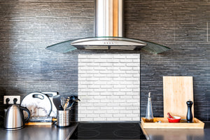 Glass kitchen backsplash –Photo backsplash BS11 Wood and wall textures Series: White Brick Texture 3