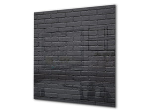 Glass kitchen backsplash –Photo backsplash BS11 Wood and wall textures Series: Graphite Brick