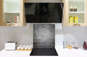 Glass kitchen backsplash –Photo backsplash BS11 Wood and wall textures Series: Gray Brick Texture 2