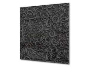 Toughened glass backsplash BS 12 White and grey textures Series: Black Texture