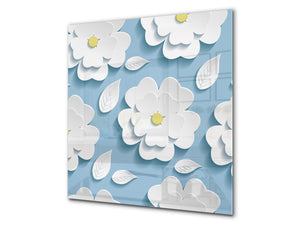 Printed Tempered glass wall art BS13 Various Series: White Flower
