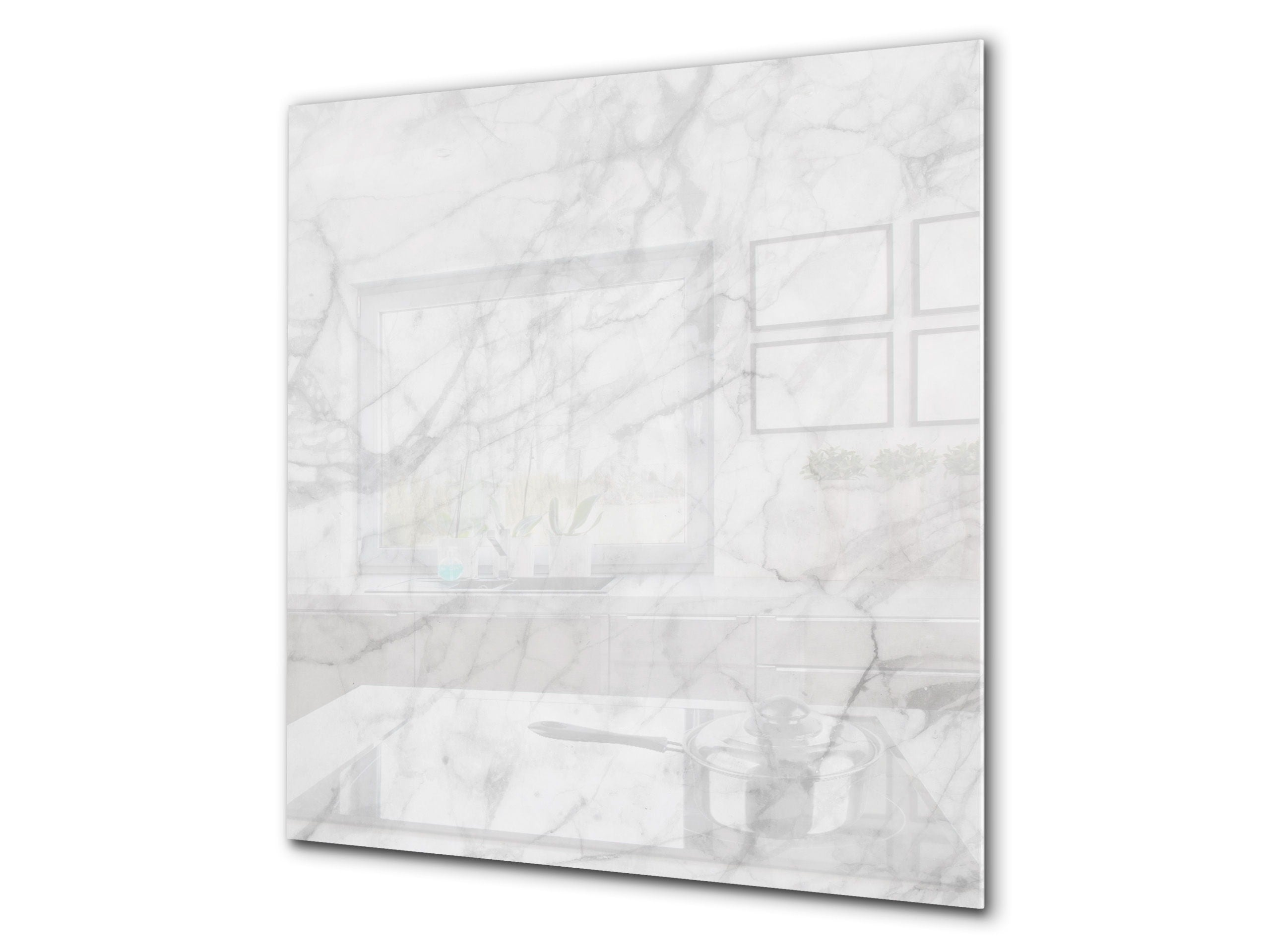 Printed Tempered Glass Wall Art Bs13 Various Series White Marble 1 Concept Crystal