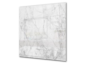 Printed Tempered glass wall art BS13 Various Series: White Marble 3