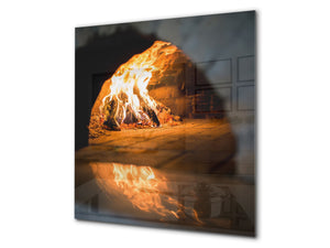 Glass kitchen splashback BS14 Fire Series: Fire Fireplace