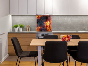 Glass kitchen splashback BS14 Fire Series: Fire Star 1