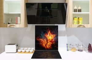 Glass kitchen splashback BS14 Fire Series: Fire Star 2