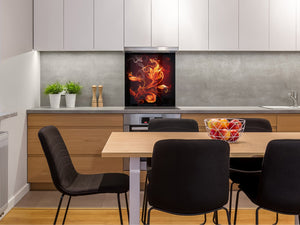 Glass kitchen splashback BS14 Fire Series: Fiery Flower 1