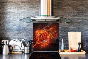 Glass kitchen splashback BS14 Fire Series: Fire Rose 2
