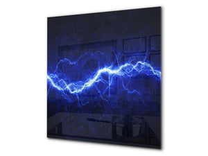 Glass kitchen splashback BS14 Fire Series: Lightning Blue 3