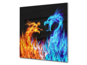 Glass kitchen splashback BS14 Fire Series: Water Fire Elements