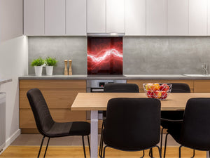 Glass kitchen splashback BS14 Fire Series: Red Lightning