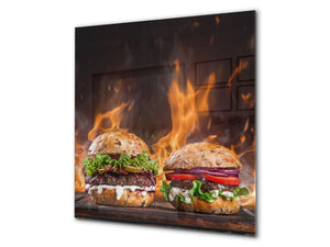 Glass kitchen splashback BS14 Fire Series: Fastfood Burgers