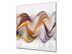 Tempered glass kitchen wall panel BS15A Abstract textures A: Colorful Wave 1