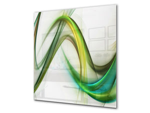 Tempered glass kitchen wall panel BS15A Abstract textures A: Green Wave 1