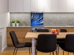 Tempered glass kitchen wall panel BS15A Abstract textures A: Blue Wave 1