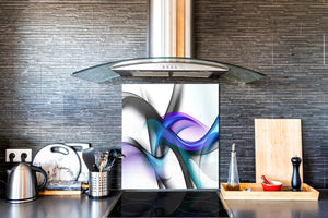 Tempered glass kitchen wall panel BS15A Abstract textures A: Blue Wave 3