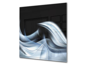 Tempered glass kitchen wall panel BS15A Abstract textures A: Blue Wave 7