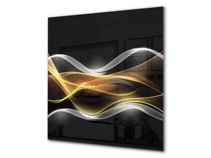 Tempered glass kitchen wall panel BS15A Abstract textures A: Gold Wave Black