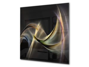Tempered glass kitchen wall panel BS15A Abstract textures A: Yellow Wave 1
