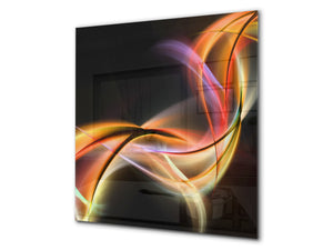 Tempered glass kitchen wall panel BS15A Abstract textures A: Colorful Wave 2