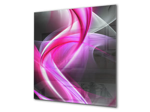 Stunning printed Glass backsplash BS15B Abstract textures B: Pink Wave 1