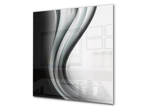 Stunning printed Glass backsplash BS15B Abstract textures B: Black And White Wave 3