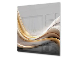 Stunning printed Glass backsplash BS15B Abstract textures B: Golden Gray Wave
