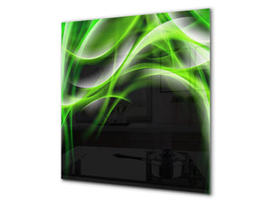 Stunning printed Glass backsplash BS15B Abstract textures B: Green Wave 4