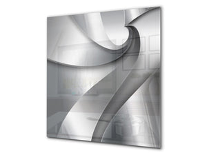 Stunning printed Glass backsplash BS15B Abstract textures B: Silver Wave
