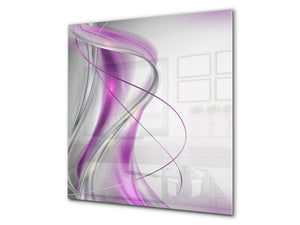 Stunning printed Glass backsplash BS15B Abstract textures B: Pink Wave 2