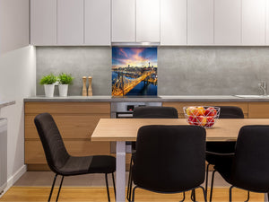 Tempered glass kitchen wall panel BS24 Bridges Series: City Bridge 2