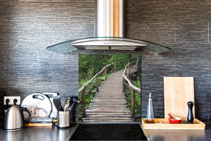 Tempered glass kitchen wall panel BS24 Bridges Series: Jungle Bridge 2