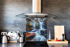 Tempered glass Cooker backsplash BS16 Waterfall landscapes Series: Waterfall Stones 1