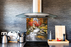 Tempered glass Cooker backsplash BS16 Waterfall landscapes Series: Waterfall Stones 2