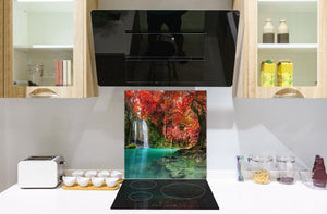 Tempered glass Cooker backsplash BS16 Waterfall landscapes Series: Autumn Waterfall
