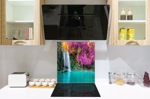 Tempered glass Cooker backsplash BS16 Waterfall landscapes Series: Violet Waterfall