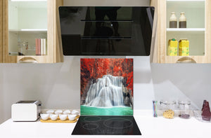 Tempered glass Cooker backsplash BS16 Waterfall landscapes Series: Waterfall Flowers 2