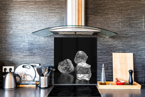 Glass kitchen splashback – Glass upstand BS18 Ice cubes Series: Ice Cubes Black 1
