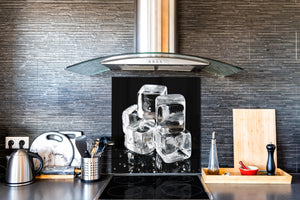 Glass kitchen splashback – Glass upstand BS18 Ice cubes Series: Ice Cubes Black 2