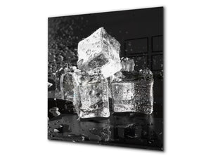 Glass kitchen splashback – Glass upstand BS18 Ice cubes Series: Ice Cubes Black 3