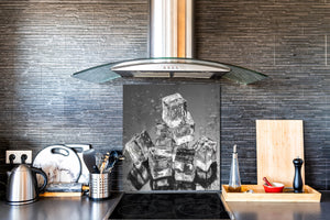 Glass kitchen splashback – Glass upstand BS18 Ice cubes Series: Ice Cubes Gray 1