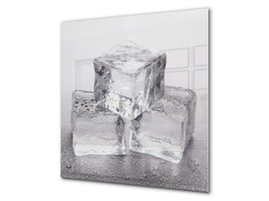 Glass kitchen splashback – Glass upstand BS18 Ice cubes Series: Ice Cubes Gray 2