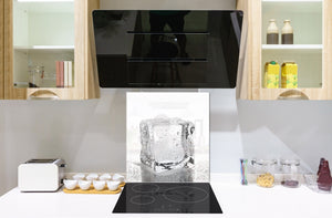 Glass kitchen splashback – Glass upstand BS18 Ice cubes Series: White Ice Cubes
