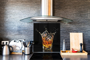 Glass kitchen splashback – Glass upstand BS09 Water splash Series: A Whiskey Drink 2