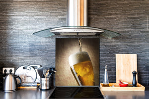 Glass kitchen splashback – Glass upstand BS09 Water splash Series: Lane Beer