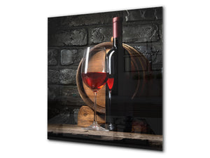 Tempered Glass backsplash – Art design Glass Upstand  BS19 Wine Series: Wine From The Barrel 1