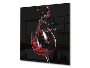Tempered Glass backsplash – Art design Glass Upstand  BS19 Wine Series: Red Wine 7