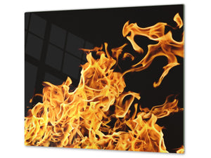 Tempered Glass Cutting Board and Worktop Saver D03 Fire Series: Fire 6